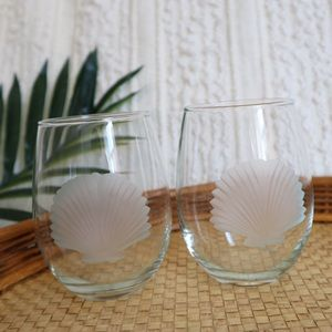 Other - etched seashells wine glasses